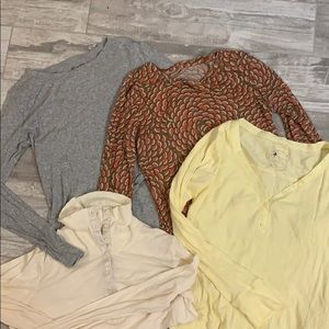 Bundle of 4 long sleeve maternity shirts